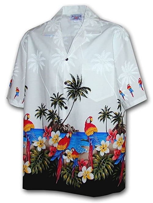 Parrots Beach Border Hawaiian Shirt by Pacific Legend